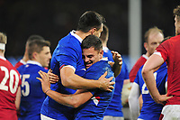 Dylan Cretin (L) and Arthur Vincent (R) of France celebrate at full time during the Guinness Six Nations Championship Round 3 match between Wales and France at the Principality Stadium in Cardiff, Wales, UK. Saturday 22 February 2020