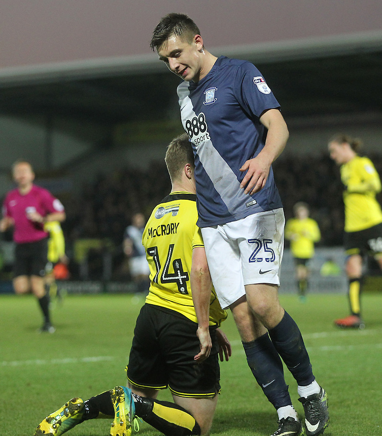 Preston North End's Jordan Hugill regrets a missed chance<br /> <br /> Photographer Mick Walker/CameraSport<br /> <br /> The EFL Sky Bet Championship - Burton Albion v Preston North End - Monday 2nd January 2017 - Pirelli Stadium - Burton upon Trent<br /> <br /> World Copyright &copy; 2017 CameraSport. All rights reserved. 43 Linden Ave. Countesthorpe. Leicester. England. LE8 5PG - Tel: +44 (0) 116 277 4147 - admin@camerasport.com - www.camerasport.com