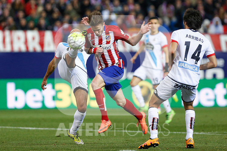Atletico de Madrid´s Saul Niguez scores a goal during 2015-16 La Liga match between Atletico de Madrid and Deportivo de la Coruna at Vicente Calderon stadium in Madrid, Spain. March 12, 2016. (ALTERPHOTOS/Victor Blanco)