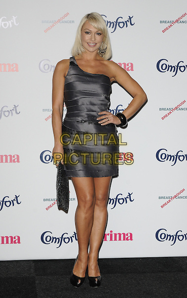 KRISTINA RIHANOFF.Prima High Street Fashion Awards, Battersea Evolutions, Battersea Park, London, England..September 8th, 2011.full length black dress hand on hip silver  clutch bag one shoulder .CAP/CAN.©Can Nguyen/Capital Pictures.