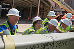MGM and AEG Topping off of the Las Vegas Arena, with the traditional  flying of the final beam, signed by all the construction workers and dignitaries