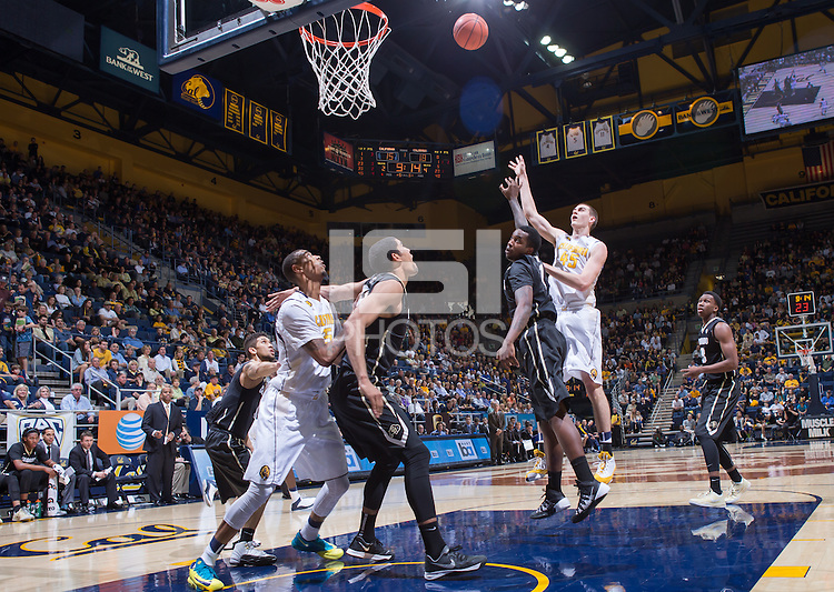 California's David Kravish shoots for the basket during a game against Colorado at Haas Pavilion in Berkeley, California on March 8th, 2014. California defeated Colorado 66 - 65