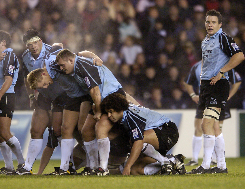 Photo. Jed Wee..Edinburgh Rugby v Newcastle Falcons , Heineken Cup, 11/12/2004..Newcastle forwards, Marius Hurter, Matt Thompson, James Isaacson, Colin Charvis and Phil Dowson (L to R).