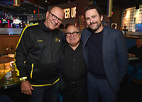 """HOLLYWOOD - SEPTEMBER 24: Thomas Lofaro, Danny DeVito and Charlie Day attend the post-party at Dave & Busters following the  premiere of FXX's """"It's Always Sunny in Philadelphia"""" Season 14 on September 24, 2019 in Hollywood, California. (Photo by Stewart Cook/FXX/PictureGroup)"""