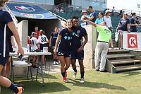 Cary, North Carolina  - Saturday April 29, 2017: Samantha Witteman and Taylor Smith prior to regular season National Women's Soccer League (NWSL) match between the North Carolina Courage and the Orlando Pride at Sahlen's Stadium at WakeMed Soccer Park.