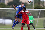 12 January 2016: Jonathan Campbell (North Carolina) (left) and Thomas Sanner (Princeton) (right). The adidas 2016 MLS Player Combine was held on the cricket oval at Central Broward Regional Park in Lauderhill, Florida.