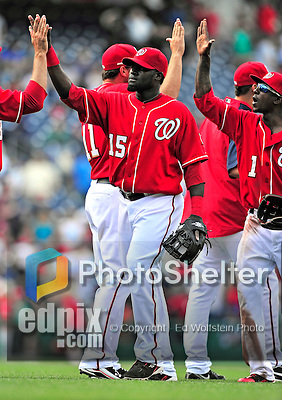25 April 2010: Washington Nationals' infielder Cristian Guzman celebrates a win against the Los Angeles Dodgers to cap their 10 game homestand at Nationals Park in Washington, DC. The Nationals shut out the Dodgers 1-0 to take the rubber match of their 3-game series. Mandatory Credit: Ed Wolfstein Photo