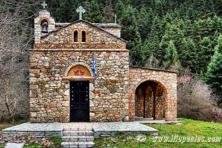 Zoodochos Pigi Chapel near Elati in Arcadia, Peloponnese, Greece.