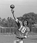 Oakland Raiders training camp August 10, 1982 at El Rancho Tropicana, Santa Rosa, California.   Oakland Raiders quarterback Jim Plunkett (16).