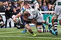 Mark Bright of Ealing Trailfinders scores a decisive try during the British & Irish Cup Final match between Ealing Trailfinders and Leinster Rugby at Castle Bar, West Ealing, England  on 12 May 2018. Photo by David Horn / PRiME Media Images.
