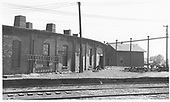 Rear of the D&amp;RGW Alamosa roundhouse showing the boiler washout building.<br /> D&amp;RGW  Alamosa, CO