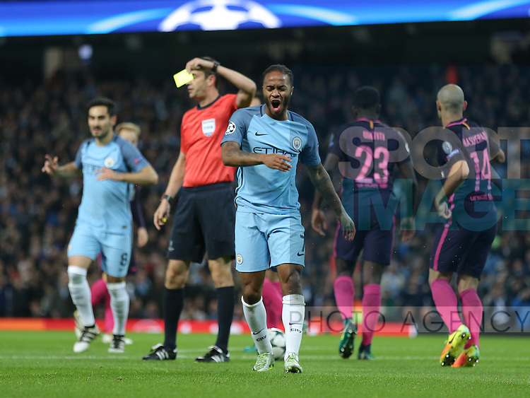 Raheem Sterling of Manchester City reacts to being shown a yellow card for simulation during the Champions League Group C match at the Etihad Stadium, Manchester. Picture date: November 1st, 2016. Pic Simon Bellis/Sportimage