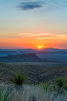 Sunset Over Sotals - Another view of the sunset in a vertical format at the Sotal Overlook in Big Bend National Park. With these wonderful colorful sunset going down over the Sierra Ponce mountain range in Mexico, which is behind Santa Elena Canyons. West texas has some amazing sunsets as they go down behind the Santa Elena Canyons in Big Bend.