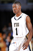 28 January 2012:  FIU guard Deric Hill (1) waits for play to resume in the second half as the Western Kentucky University Hilltoppers defeated the FIU Golden Panthers, 61-51, at the U.S. Century Bank Arena in Miami, Florida.