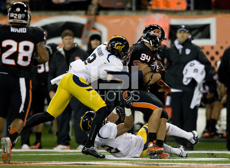 Marc Anthony of California tackles Devon Kell of Oregon State during the game at Reser Stadium in Corvallis, Oregon on November 17th, 2012.  Oregon State defeated California, 62-14.