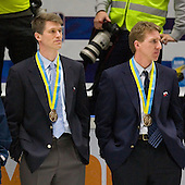Ron Rolston (US National Under-18 Team), Nate Leaman (Union College) - Team Canada (gold), Team Russia (silver) and Team USA line up for the individual awards and team medal presentations following Team Canada's 4-2 victory over Team Russia to win the gold in the 2007 World Championship on Friday, January 5, 2007 at Ejendals Arena in Leksand, Sweden.