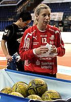 1. Bundesliga Handball Frauen - Punktspiel HC Leipzig (HCL) : DJK / MJC Trier - Arena Leipzig - im Bild:  HCL Torfrau Katja Schülke . Foto: Norman Rembarz ..