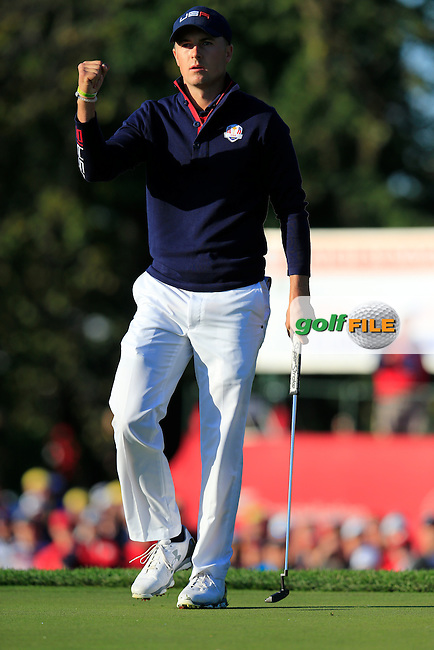 Jordan Spieth US Team sinks his putt on the 2nd green during Saturday Morning Foursomes Matches of the 41st Ryder Cup, held at Hazeltine National Golf Club, Chaska, Minnesota, USA. 1st October 2016.<br /> Picture: Eoin Clarke   Golffile<br /> <br /> <br /> All photos usage must carry mandatory copyright credit (&copy; Golffile   Eoin Clarke)