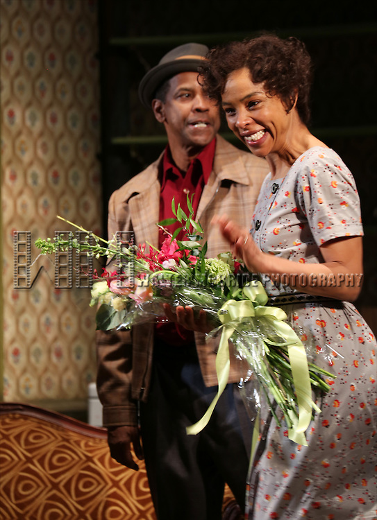 "Denzel Washngton and Sophie Okonedo during the Broadway Opening Night Curtain Call for  ""A Raisin In The Sun""  at the Barrymore Theatre on April 3, 2014 in New York City."