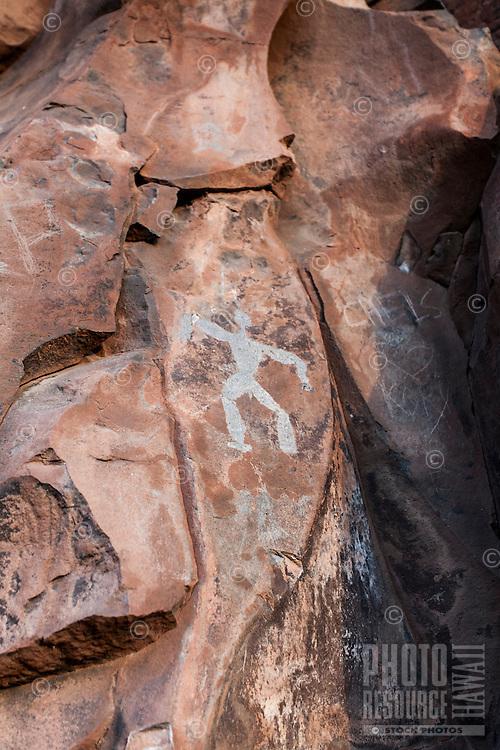 Authentic Hawaiian petroglyph of a human figure, Olowalu, Maui