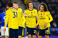 9th November 2019; King Power Stadium, Leicester, Midlands, England; English Premier League Football, Leicester City versus Arsenal; David Luiz of Arsenal tells off Matteo Guendouzi after a lapse in defence - Strictly Editorial Use Only. No use with unauthorized audio, video, data, fixture lists, club/league logos or 'live' services. Online in-match use limited to 120 images, no video emulation. No use in betting, games or single club/league/player publications
