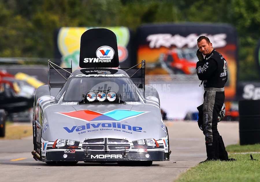 Sept. 1, 2014; Clermont, IN, USA; NHRA funny car driver Jack Beckman reacts after losing in the first round during the US Nationals at Lucas Oil Raceway. Mandatory Credit: Mark J. Rebilas-USA TODAY Sports