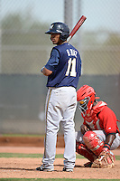 Milwaukee Brewers outfielder Brandon Diaz (11) during an Instructional League game against the Cincinnati Reds on October 6, 2014 at Maryvale Baseball Park Training Complex in Phoenix, Arizona.  (Mike Janes/Four Seam Images)