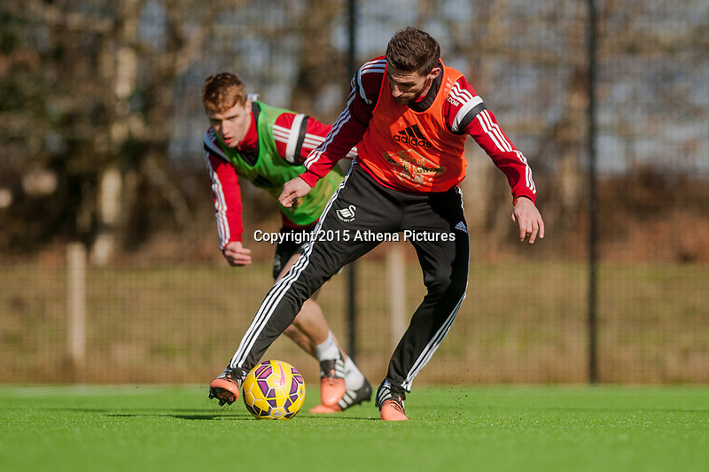 SWANSEA, WALES - FEBRUARY 17: Angel Rangel of Swansea City in action  during training session at the Fairwood training ground on February 17, 2015 in Swansea, Wales.  (Photo by Athena Pictures )