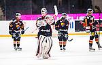 Stockholm 2014-02-24 Ishockey Hockeyallsvenskan Djurg&aring;rdens IF - S&ouml;dert&auml;lje SK :  <br /> Djurg&aring;rdens m&aring;lvakt Adam Reideborn tackar publiken efter matchen <br /> (Foto: Kenta J&ouml;nsson) Nyckelord:  glad gl&auml;dje lycka leende ler le