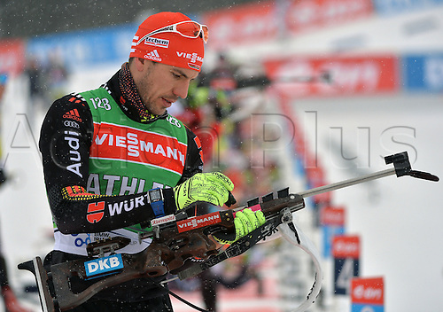 02.03.2016. Holmenkollen, Oslo, Norway.  Biathlete Arnd Peiffer of Germany in action during a training session at the Biathlon World Championships, in the Holmenkollen Ski Arena, Oslo, Norway