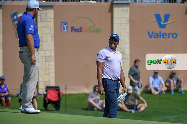Jhonattan Vegas (VEN) shares a laugh with Graeme McDowell (NIR) on 18 during day 3 of the Valero Texas Open, at the TPC San Antonio Oaks Course, San Antonio, Texas, USA. 4/6/2019.<br /> Picture: Golffile | Ken Murray<br /> <br /> <br /> All photo usage must carry mandatory copyright credit (© Golffile | Ken Murray)