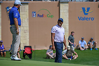Jhonattan Vegas (VEN) shares a laugh with Graeme McDowell (NIR) on 18 during day 3 of the Valero Texas Open, at the TPC San Antonio Oaks Course, San Antonio, Texas, USA. 4/6/2019.<br /> Picture: Golffile | Ken Murray<br /> <br /> <br /> All photo usage must carry mandatory copyright credit (&copy; Golffile | Ken Murray)