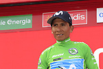Nairo Quintana (COL) Movistar Team retains the points Green Jersey at the end of Stage 3 of La Vuelta 2019 running 188km from Ibi. Ciudad del Juguete to Alicante, Spain. 26th August 2019.<br /> Picture: Eoin Clarke | Cyclefile<br /> <br /> All photos usage must carry mandatory copyright credit (© Cyclefile | Eoin Clarke)