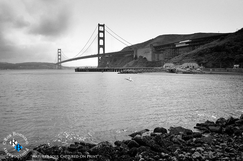 Storm brewing over the Pacific and the Golden Gate Bridge from the Sausalito perspective