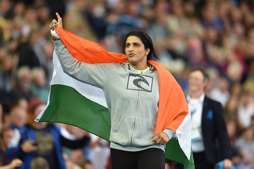 India's Seema Punia celebrates claiming a silver medal in the women's discus throw final<br /> <br /> Photographer Chris Vaughan/CameraSport<br /> <br /> 20th Commonwealth Games - Day 9 - Friday 1st August 2014 - Athletics - Hampden Park - Glasgow - UK<br /> <br /> &copy; CameraSport - 43 Linden Ave. Countesthorpe. Leicester. England. LE8 5PG - Tel: +44 (0) 116 277 4147 - admin@camerasport.com - www.camerasport.com