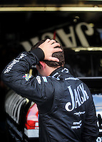 Oct. 15, 2009; Concord, NC, USA; NASCAR Sprint Cup Series driver Casey Mears reacts during practice for the Banking 500 at Lowes Motor Speedway. Mandatory Credit: Mark J. Rebilas-