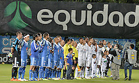 BOGOTÁ -COLOMBIA, 27-04-2014. Aspecto del encuentro de ida entre La Equidad y Millonarios por los cuartos de final de la Liga Postobón I 2014 jugado en el estadio Metropolitano de Techo de la ciudad de Bogotá./ Aspect of first leg match between La Equidad and Millonarios for quarter finals of the Postobon League I 2014 played at Metropolitano de Techo stadium in Bogotá city. Photo: VizzorImage/ Gabriel Aponte / Staff