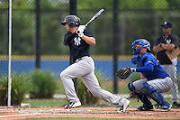 New York Yankees Brandon Thomas (66) at bat in front of catcher Dan Jansen during a minor league spring training game against the Toronto Blue Jays on March 24, 2015 at the Englebert Complex in Dunedin, Florida.  (Mike Janes/Four Seam Images)