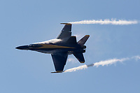 Blue Angels F-18 Hornet with vapor.