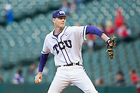 Texas Christian Horned Frogs starting pitcher Brian Howard (44) in action against the Louisiana-Lafayette Ragin' Cajuns at Minute Maid Park on February 26, 2016 in Houston, Texas.  The Horned Frogs defeated the Rajin' Cajuns 7-1.  (Brian Westerholt/Four Seam Images)