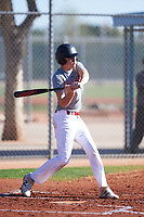 Justin Lucas (44), from Ukiah, California, while playing for the Indians during the Under Armour Baseball Factory Recruiting Classic at Red Mountain Baseball Complex on December 29, 2017 in Mesa, Arizona. (Zachary Lucy/Four Seam Images)