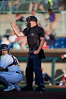 Umpire Jesse Busch calls a strike during a NY-Penn League game between the State College Spikes and Mahoning Valley Scrappers on August 29, 2019 at Eastwood Field in Niles, Ohio.  State College defeated Mahoning Valley 8-1.  (Mike Janes/Four Seam Images)