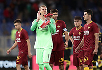 Football, Serie A: AS Roma - Frosinone, Olympic stadium, Rome, 26 September 2018. <br /> Roma's players celebrate after winning 4-0 the Italian Serie A football match between AS Roma and Frosinone at Olympic stadium in Rome, on September 26, 2018.<br /> UPDATE IMAGES PRESS/Isabella Bonotto