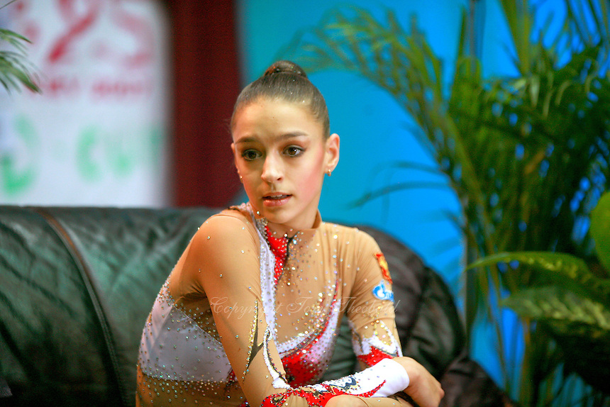 """Evgenia Kanaeva of Russia portrait while shewaits at """"kiss & cry"""" for her scores during seniors event finals at 2007 World Cup Kiev, """"Deriugina Cup"""" in Kiev, Ukraine on March 18, 2007."""