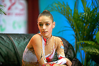 "Evgenia Kanaeva of Russia portrait while shewaits at ""kiss & cry"" for her scores during seniors event finals at 2007 World Cup Kiev, ""Deriugina Cup"" in Kiev, Ukraine on March 18, 2007."