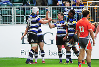 Dave Attwood of Bath Rugby celebrates his second try with team-mates. Aviva Premiership match, between Bath Rugby and Newcastle Falcons on September 10, 2016 at the Recreation Ground in Bath, England. Photo by: Patrick Khachfe / Onside Images