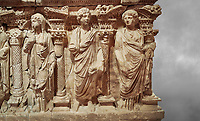 Roman relief sculpted sarcophagus of Domitias Julianus and Domita Philiska, 2nd century AD, Perge. Antalya Archaeology Museum, Turkey.<br /> <br /> <br /> it is from the group of tombs classified as. &quot;Columned Sarcophagi of Asia Minor&rdquo;. <br /> The lid of the sarcophagus is sculpted into the form of a &ldquo;Kline&rdquo; style Roman couch on which lie Julianus &amp;  Philiska. This type of Sarcophagus is also known as a Sydemara Type of Tomb.