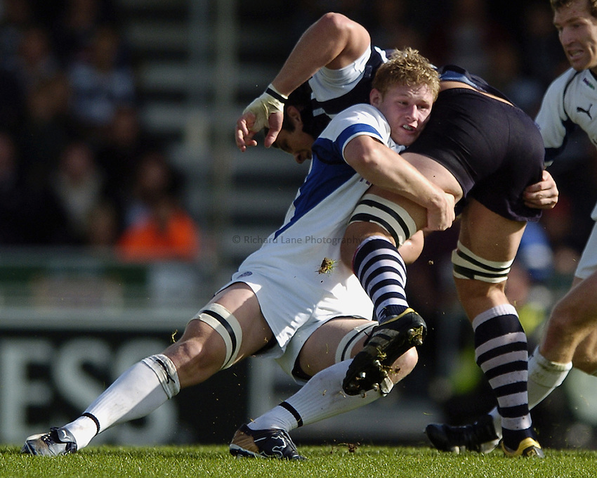 Photo: Jonathan Butler..Bristol Rugby v Bath Rugby. EDF Anglo-Welsh Cup. 01/10/2006..Chris Goodman of Bath tackles a Bristol defender.