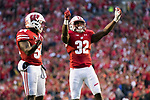 Wisconsin Badgers linebacker Leon Jacobs (32) celebrates during an NCAA College Football Big Ten Conference game against the Purdue Boilermakers Saturday, October 14, 2017, in Madison, Wis. The Badgers won 17-9. (Photo by David Stluka)