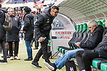 09.02.2019, HDI Arena, Hannover, GER, 1.FBL, Hannover 96 vs 1. FC Nuernberg<br /> <br /> DFL REGULATIONS PROHIBIT ANY USE OF PHOTOGRAPHS AS IMAGE SEQUENCES AND/OR QUASI-VIDEO.<br /> <br /> im Bild / picture shows<br /> Michael K&ouml;llner / Koellner (Trainer 1. FC Nuernberg) mit Wasserflasche vor dem Spiel, Andreas Bornemann (Vorstand Sport 1. FC Nuernberg), <br /> <br /> Foto &copy; nordphoto / Ewert